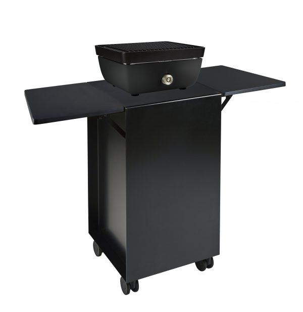Ferleon zwarte patio cooker, zwart onderstel en trespa inklapbare zijtafeltjes
