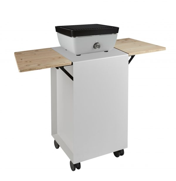 Gasbarbecue met grill witte kleur en trolley in witte kleur met houten zijkantjes