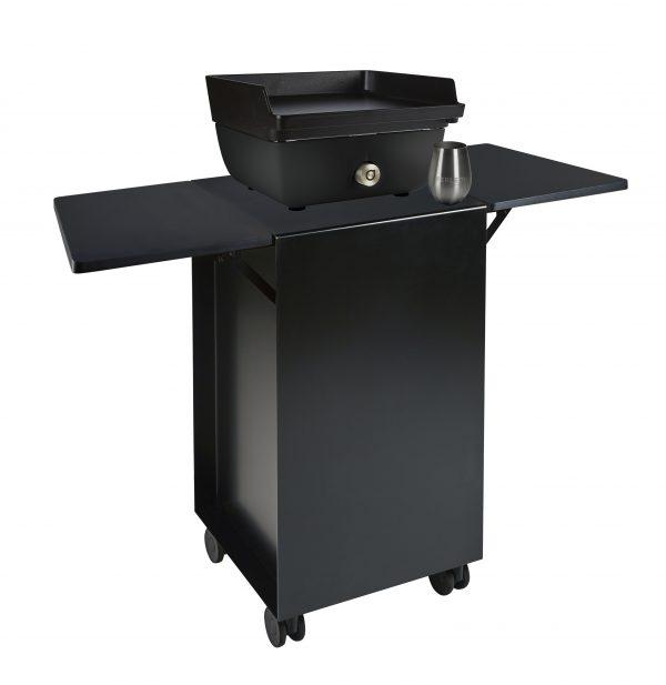 Patio cooker zwart + trolley zwart + neerklapbare tafeltjes in trespa